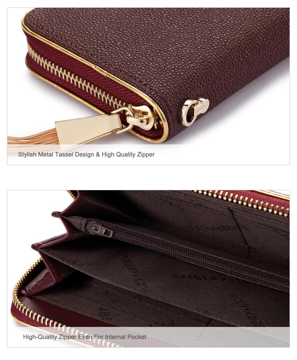 Jamarna Genuine Leather Wallet Female Stingray Pattern Long Clutch Women Wallet Female Metal Tassel Coin Purse Card Holder