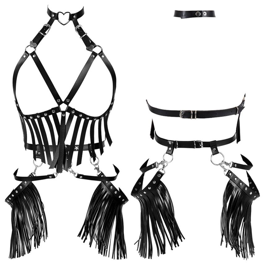2019 Harness Bra Leather Plus Size Strap Set Metal Breast Belt