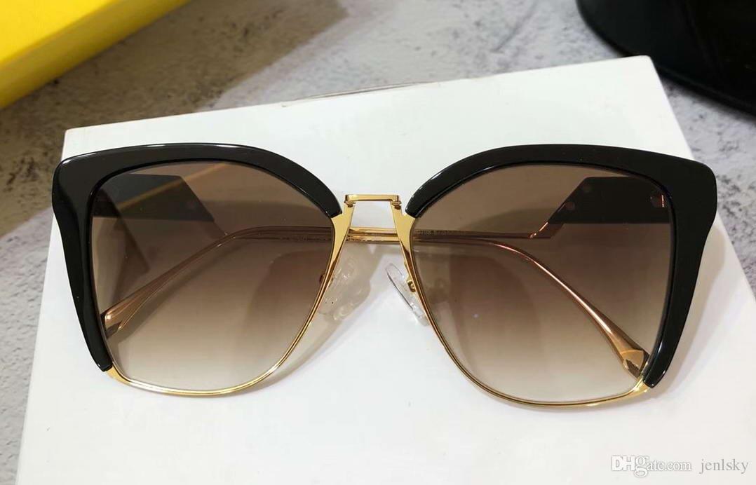 39b933c564 0365/S Cat Eye Sunglasses Gold Balck/Brown Shaded Women Luxury ...