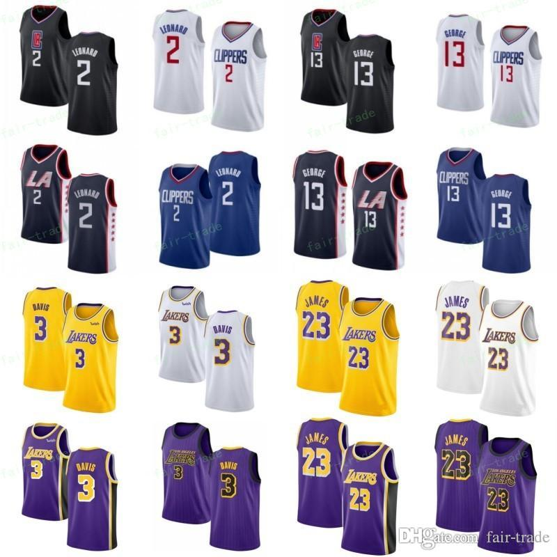 best service b9ab4 388f9 NCAA Kawhi 2 Leonard Jerseys LA Clippers Paul 13 George Los 1 Angeles  Basketball Anthony 3 Davis LeBron 23 James Stitched S-3XL Black White