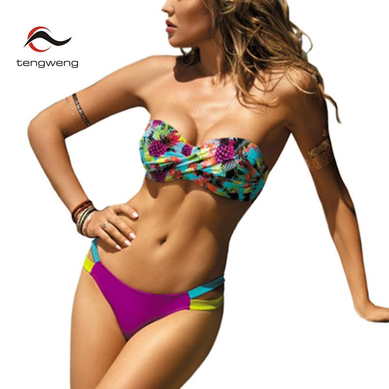 Tengweng 2019 Bikini Push up Bandeau Print Floral Swimsuit Plus size Swimwear Cut out Brazilian Female Bathing suit