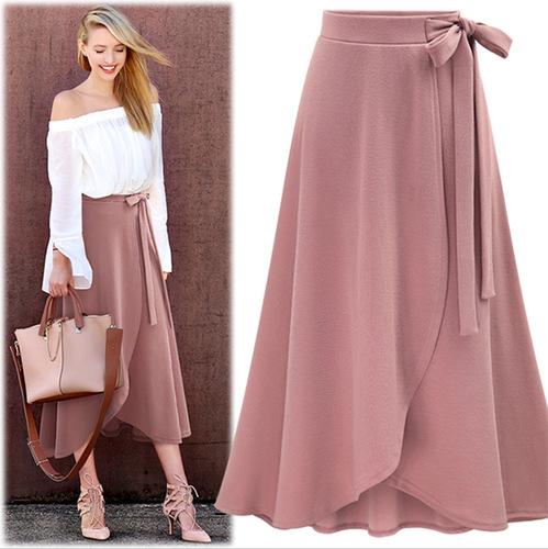 2585bc041a 2019 2019 Women Pink Skirts Fashion Mid Skirts Sale Summer New Arrival Solid  Asymmetrical Slim High Waist Solid Lace Up Casual Style From Sunmiss, ...