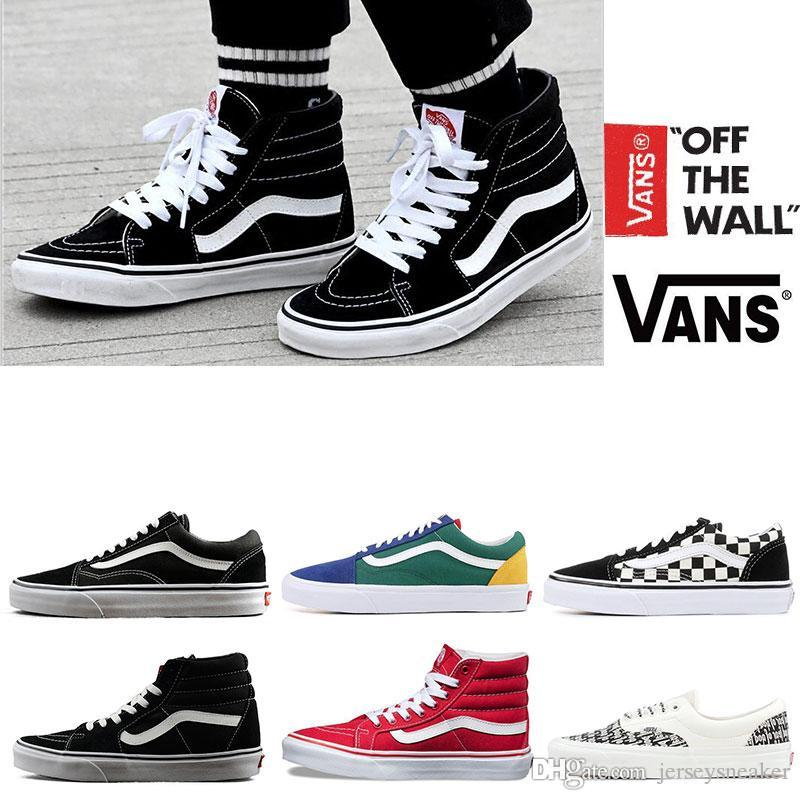 56edbd2ee2de Original Vans Old Skool Sk8 Hi Mens Womens Canvas Sneakers Black White Red  YACHT CLUB MARSHMALLOW Fashion Skate Casual Shoes Size 36 44 Mens Loafers  Buy ...