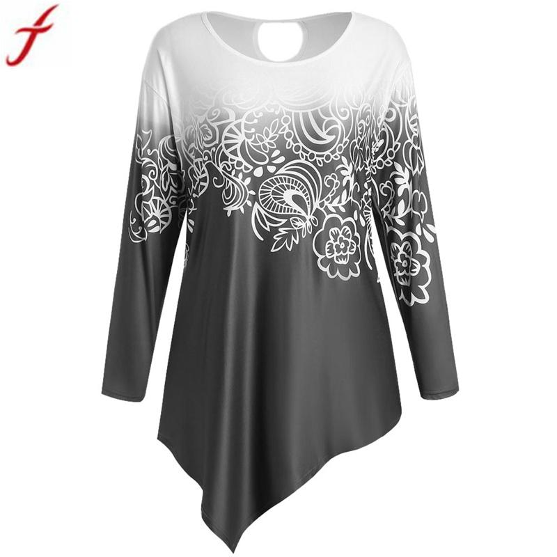 1903962b 2019 Women Elegant Printing Shirts 2017 Tunic Shirt Autumn Winter Long  Sleeve Blouse Casual Tops Ladies Irregular Blouses Blusas Muje From  Maoyili, ...