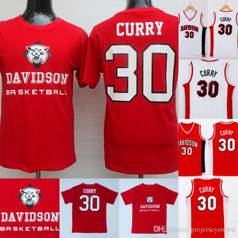 save off b3ced f7d2b Mens #30 Steph Curry NCAA Jersey Davidson Wildcats Steph Curry College  Basketball Jerseys Red White High Quality Fast Shipping