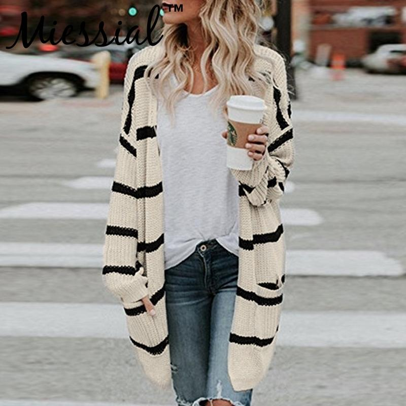 c801a222cba0 2019 Miessial Plus Size Striped Knit Cotton Sweater Women Elegant Oversize  Cardigan Long Sleeve Jumper Female Winter Loose Outerwear From Beimu
