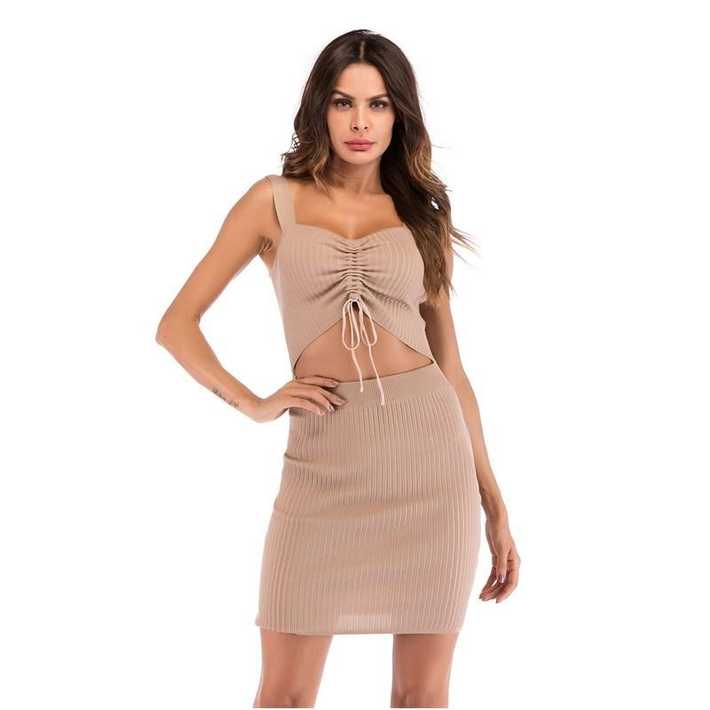 70b5b3a950 Good Quality Women S Pit Knitting Hollow Out Strap Sling Dress 2019 Sexy  Low Cut Waist Pleated Pants Hip O Neck Women Mini Dresses All White Maxi  Dress Cute ...