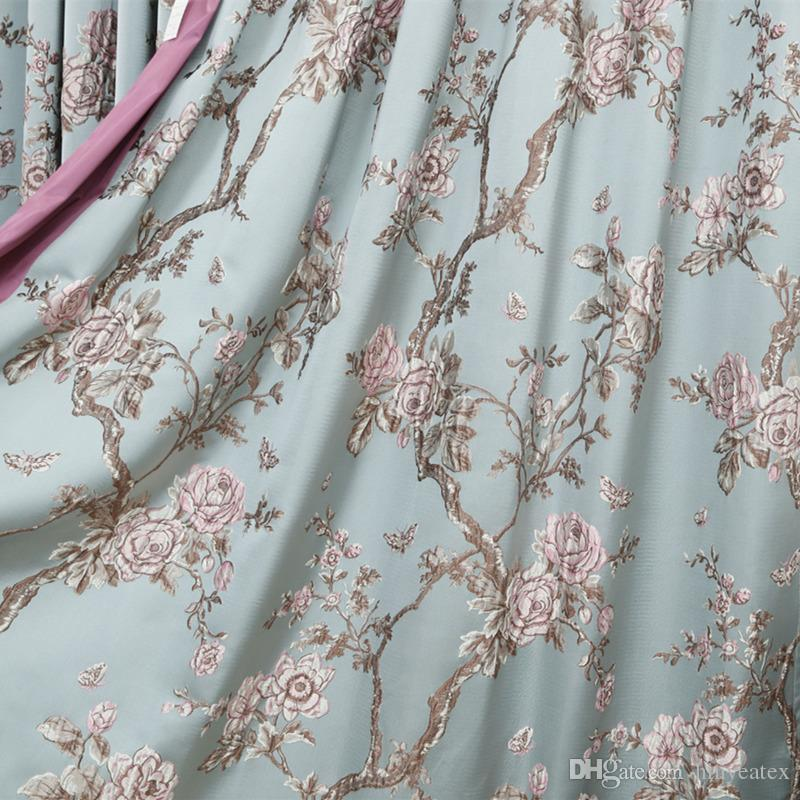 Free Shipping American Style Floral Sofa Chair Heavy Polyester Jacquard Woven Drapery Curtain Fabric Light Blue 1meter Lot Drop Shipping