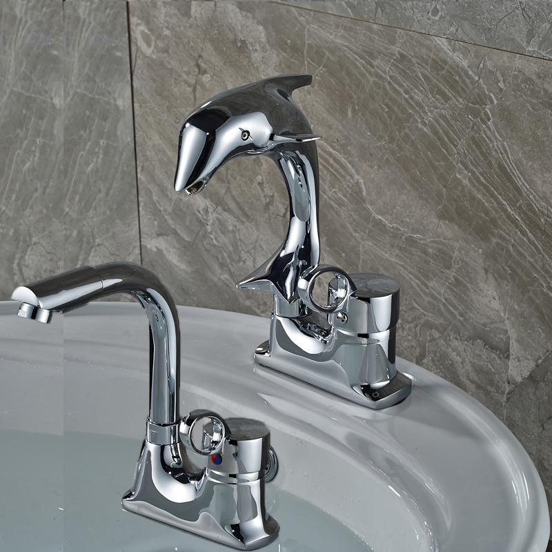 Single Handle Ceramic Valve Bathroom Faucet Rotate Brass Deck Mount Washing Basin Mixer Taps Dual Holes
