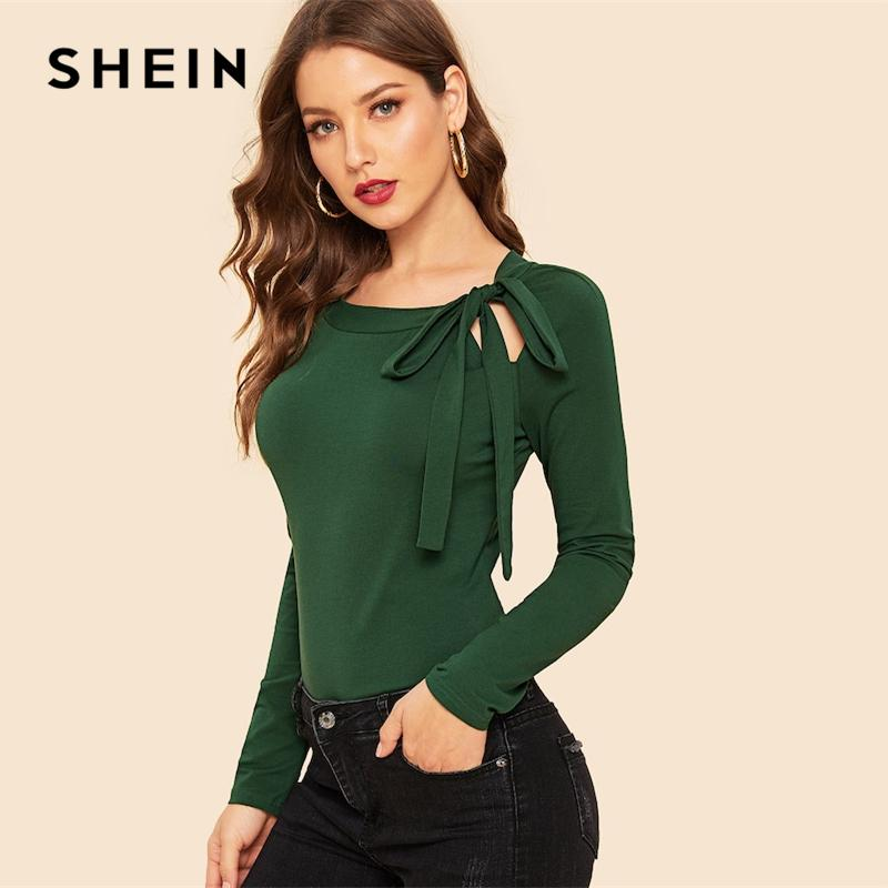 fa9633bc SHEIN Vintage Knot Front Raglan Sleeve Solid Slim Fit Stretchy Plain Round  Neck Tee 2019 Spring Modern Lady Women Top Tees Shirt Design Tees From  Chivalife, ...