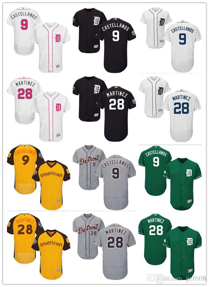 official photos 836da c48d0 custom Men's women youth Detroit Tigers Jersey #9 Nick Castellanos 28 J. D.  Martinez Black Grey Baseball Jerseys