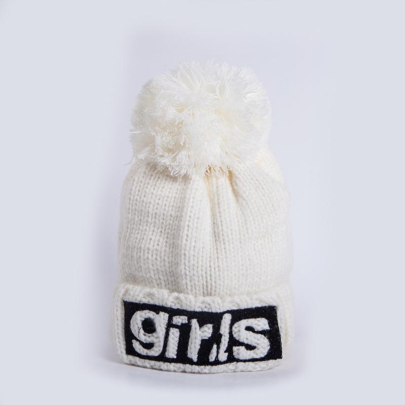0fe3eaa75 Women s Winter Fashion Hair Ball Cap Making Cotton Knit Pom Pom Women s  Winter Hat Hat Letter Sticker Girl s Keep Warm Cap