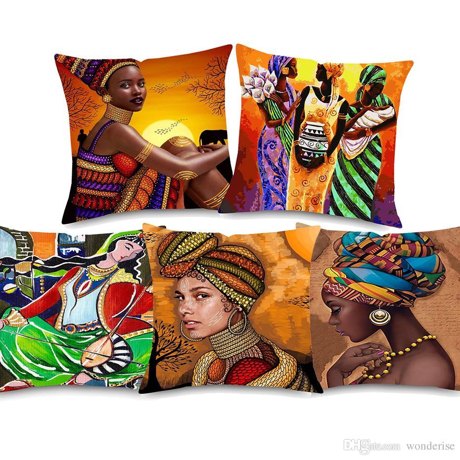 Acheter Aquarelle Peinture Africaine Femmes Coussin Couvre Lu0027Afrique Danse  Lady Housse De Coussin En Lin Taie Du0027oreiller Pour Chambre Canapé  Décoration De ...
