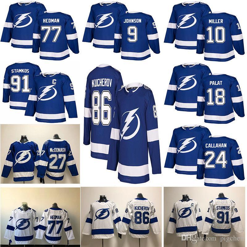 7ef6d42529c Tampa Bay Lightning Hockey Jerseys 91 Steven Stamkos 86 Nikita ...