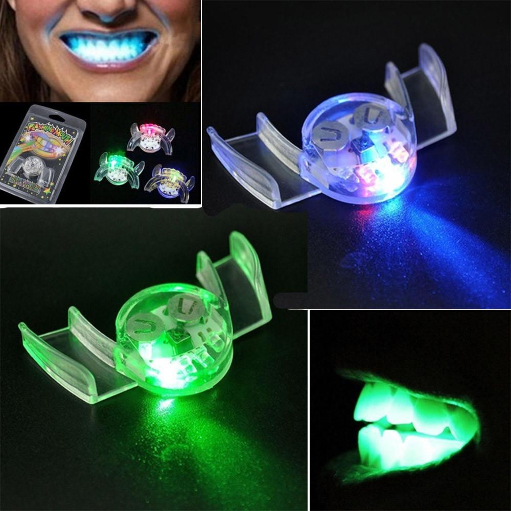 luminescent toys Flashing LED Light Up Mouth Braces Piece Glow Teeth For Halloween Party Rave Funny Gift Z0301