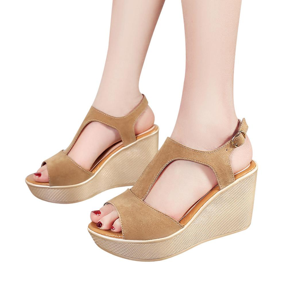 Shoes Youyedian Women Fish Mouth Non Slip Platform Slope Women Sexy High  Heels Platform Sandals Buckle Strap Szpilki Na Platformie g30 Pink Shoes  Munro ... 52aae08c5308