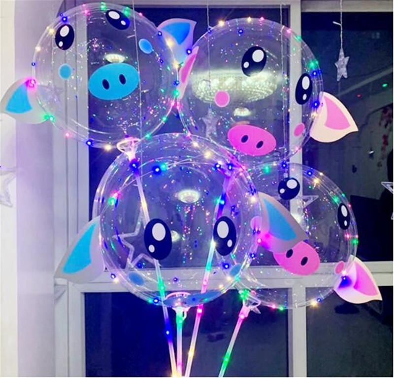 2019 Valentine's LED BOBO Ball 18'' Cartoon Piggy Balloons with Pole 3M LED Light Sring Luminous Balloon for Birthday Wedding Party Decors