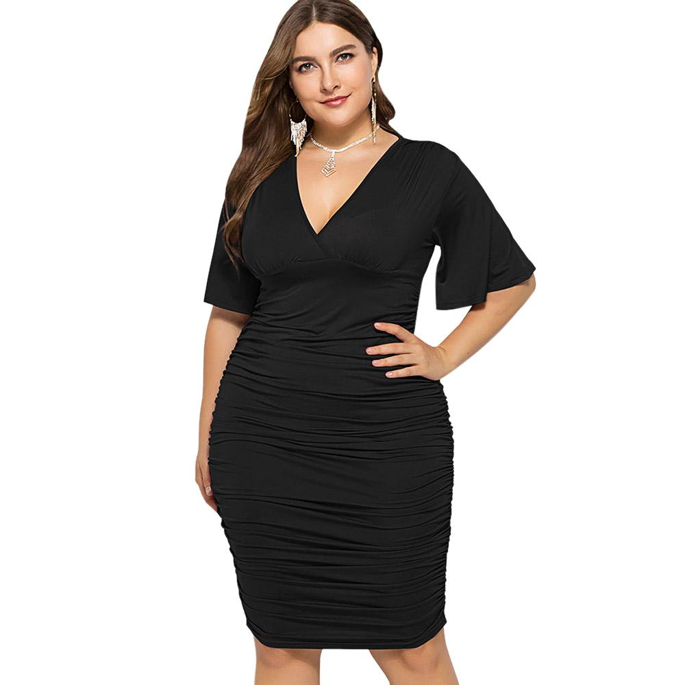 Wipalo Plus Size Bodycon Dress Low Cut Ruched Empire Waist Dress Summer  Women Half Sleeves Party Elegant Vestidos Big Size