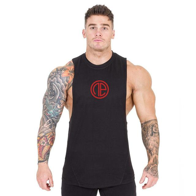 Tank Vest Top Herren Mens T-shirt Black Red Logo Fitness Gym Workout Sport Running MMA Quick Dry Breathable Sleeveless Sportswear