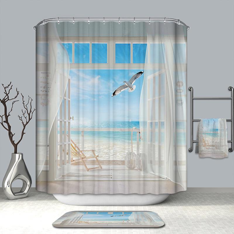 Großhandel Sommer Hot Bad Vorhänge Gefälschte Fenster Strand ...
