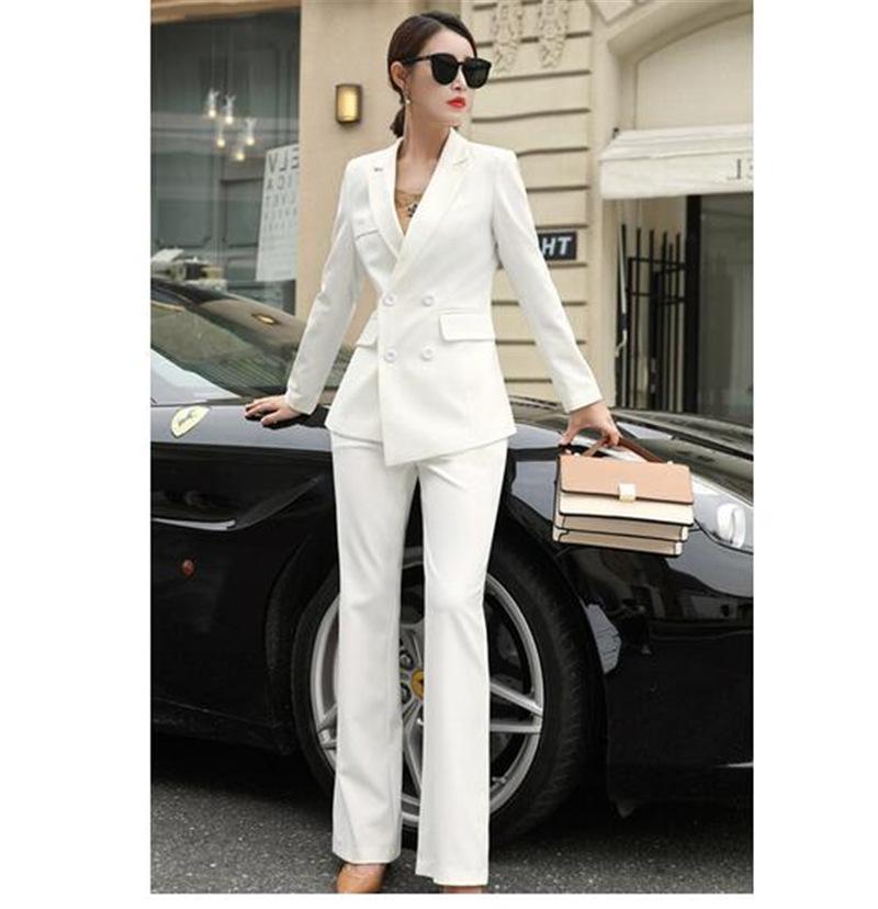 755565942d4b82 Blanc Business Pantalons costumes pour femmes Plus Size Ladies Blazer  croisé avec un pantalon de travail Pantalon de travail sur mesure