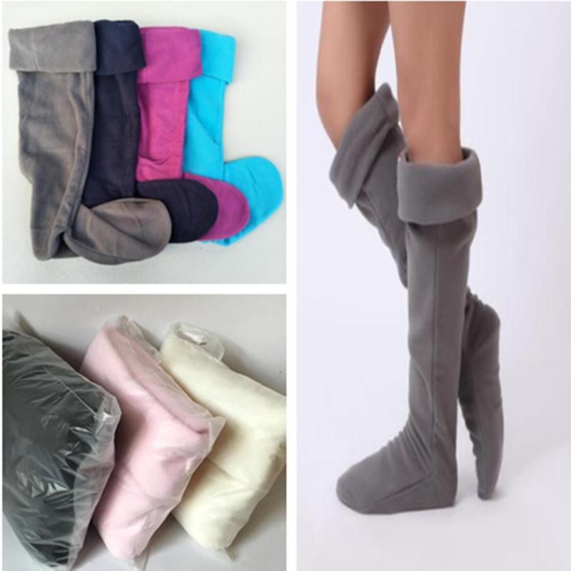 87237252b Unisex Rain Boots Socks US SIZE 4-10 Fleece Boots Sock Cuffs Winter ...