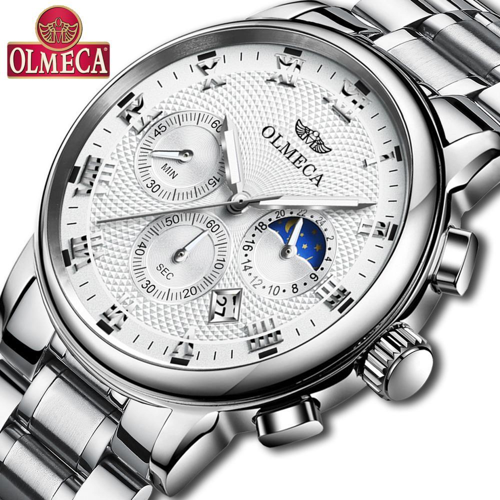 81917a0d2372 Compre Relogio Masculino OLMECA Relojes De Pulsera De Lujo Para Hombre De  Acero Inoxidable Reloj Deportivo Hombre Relojes Blancos Hombres Reloj De  Primeras ...