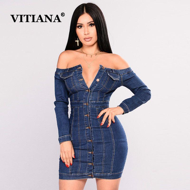 8e64745ec7 Compre VITIANA Mujeres Jean Vestido Mujer 2019 De Manga Larga Sin Tirantes  Fuera Del Hombro Imperio Azul Botton Denim Vestidos Señoras Sexy Clubwear A  ...