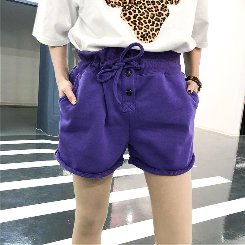 dd90bd964d ... Ins Cordón Simple Pequeña Flor De Lado Ancho Suelta Gran Tamaño Pantalones  Cortos De Cintura Elástica Pantalones Calientes De Verano De Las Mujeres A  ...