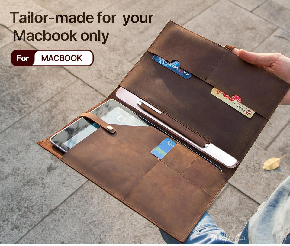 purchase cheap bd90e 233aa Multi-Function Real Leather Laptop Sleeve Pouch Case For Macbook 12