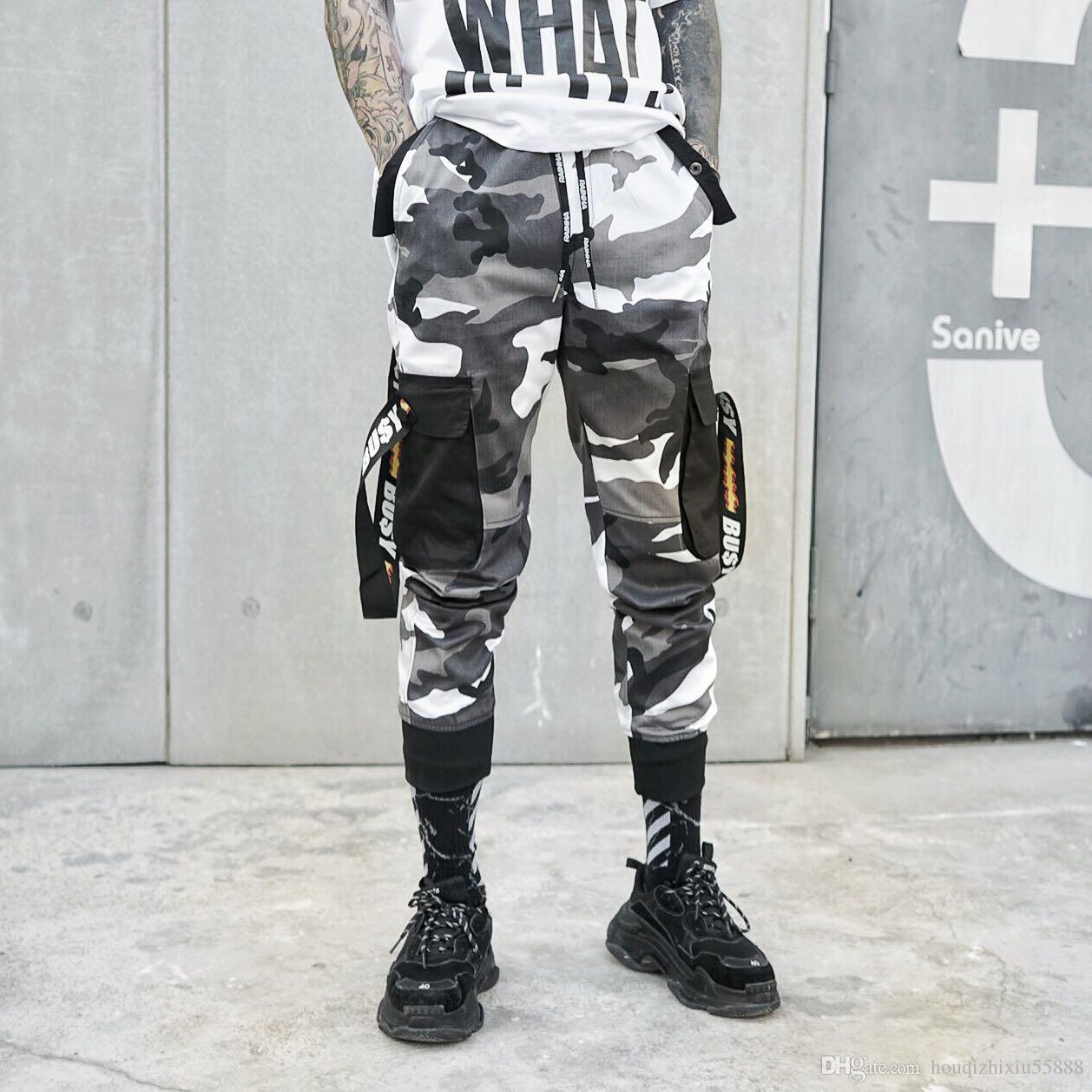 Compre Pantalones De Camuflaje Hombres Moda Algodón Streetwear Pantalones  Elásticos Hip Hop Skateboard Joggers Masculinos Pantalones De Chándal EE.  UU. 1d1b2c6bb36