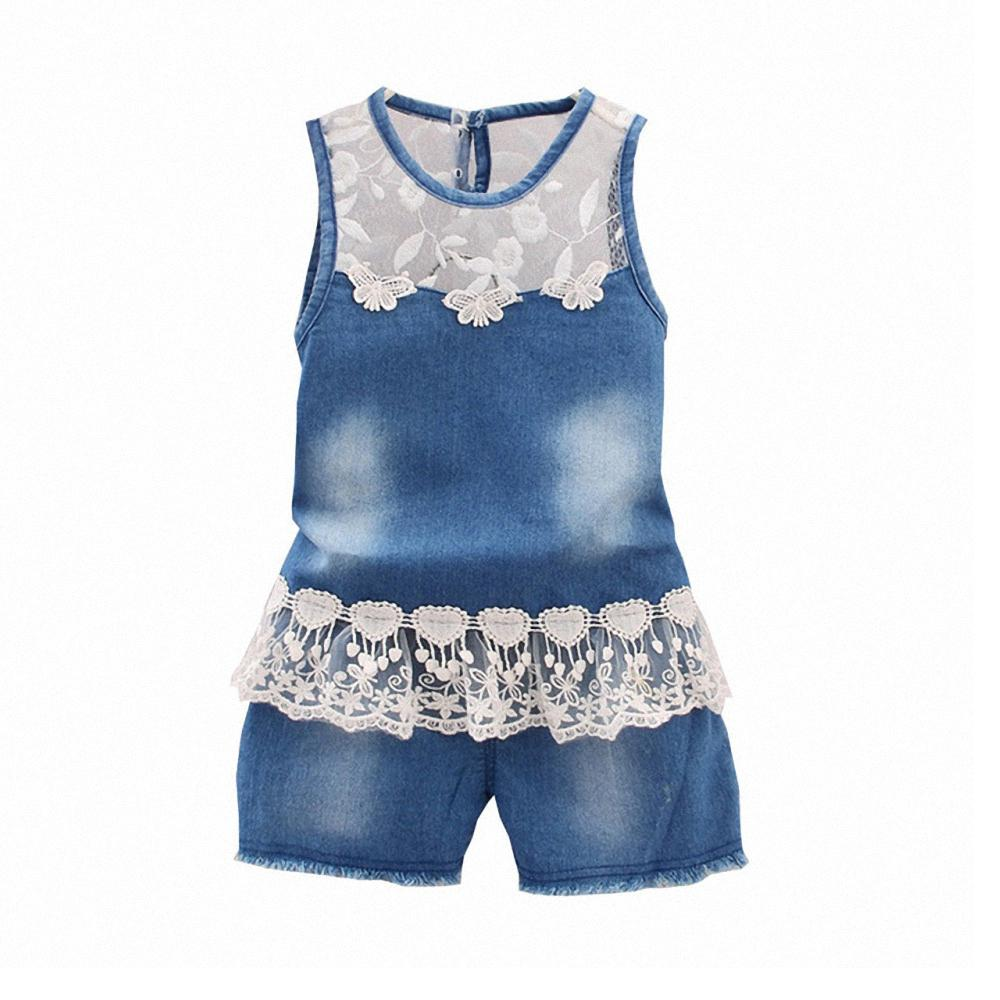 2dd7594b3 good quality 2017 Fashion Baby Girls Summer Clothes Set toddler Denim  clothing Suit sleeveless vest Jeans tops + shorts Flower Lace
