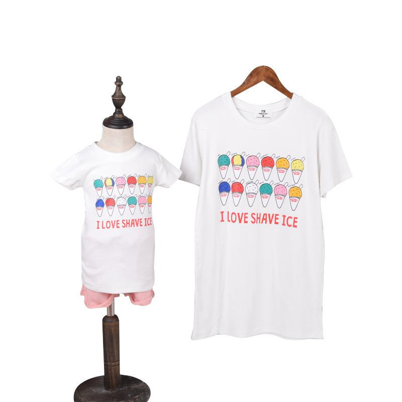 a78f92819d450 Mother Daughter Long T Shirts 2019 Summer Family Matching Short Sleeve Ice  Cream Print T Shirts Family Look Cotton Clothes Tops Awful Family Photos  Mommy ...