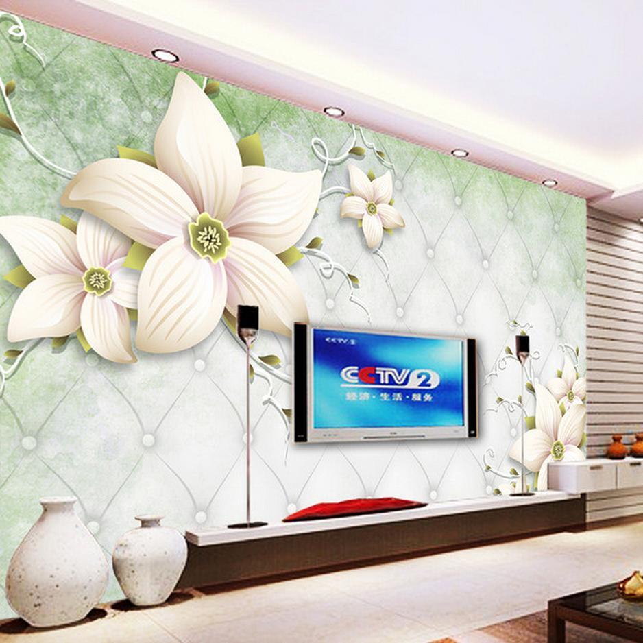 Benutzerdefinierte moderne einfache weiße Blumen Wandbild Tapete Wohnzimmer  Schlafzimmer Interieur gemütliche Dekor Tapete Rolle Papel De Parede ...