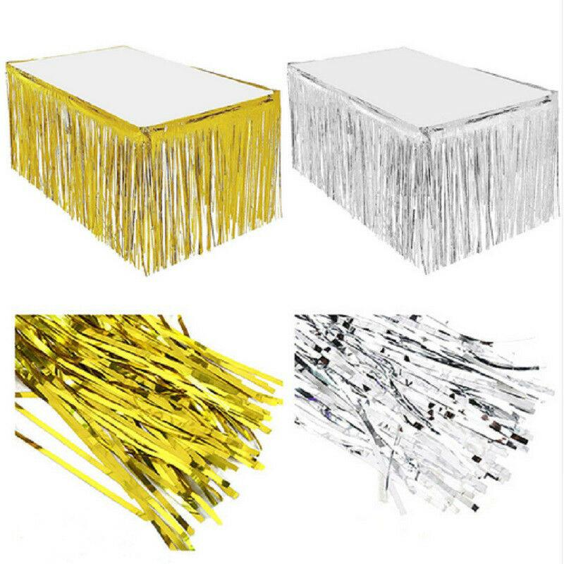 2019 Hot Home Decoration Metallic Fringe Gonna da tavolo Foil Tinsel Wedding Christmas party Decor 274 74 cm
