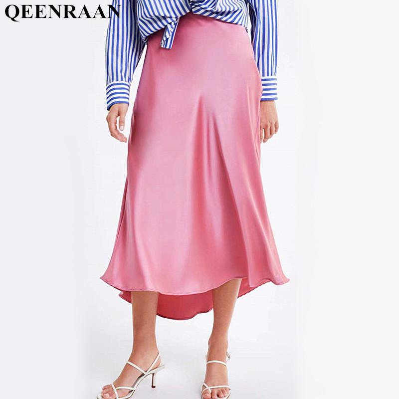 24ba78ef2d2e7 2019 Womens Imitation Silk Pink Fashion Streetwear High Waist Irregular  Long Skirt Femme Jupe Falda Saia C19040402