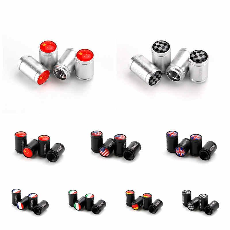 Car Tire Valve Cap Aluminum Alloy Auto Car Accessories Tyre Dust Air Cover Nozzle Caps UK Italy Germany France USA Flag HHA48