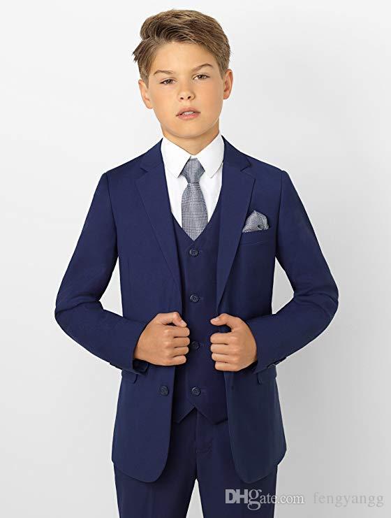 66bc49b026fd Trajes formales para niños pequeños con esmoquin para niños nuevos Conjunto  azul marino Slim Fit Boy Traje formal para bodas por encargo (chaqueta ...