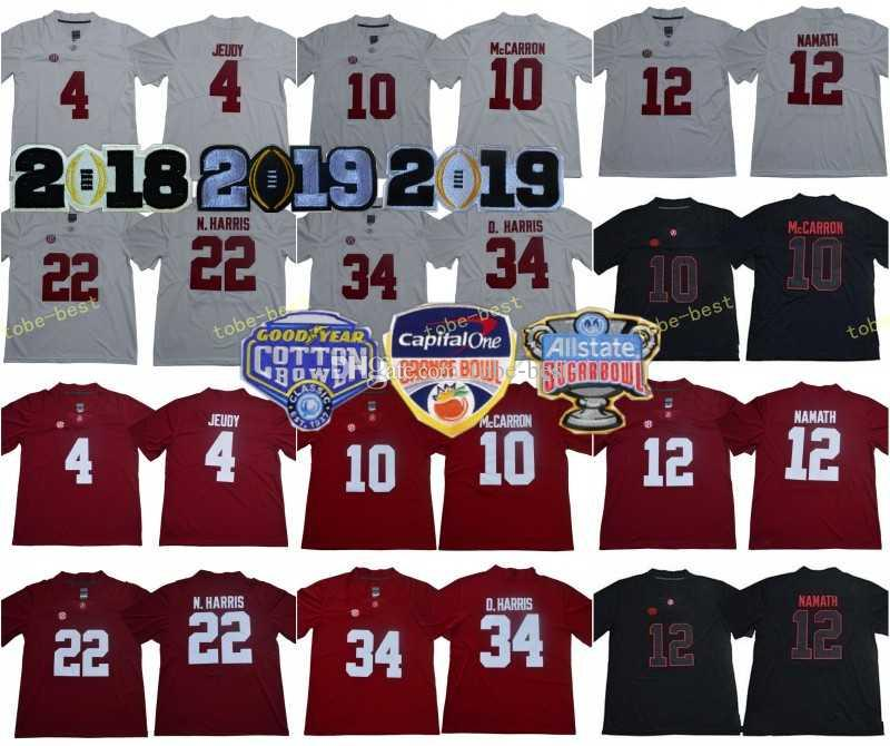 4ad604e678f 2019 Finals Alabama Crimson Tide 4 Jerry Jeudy Jerseys 13 Tua ...