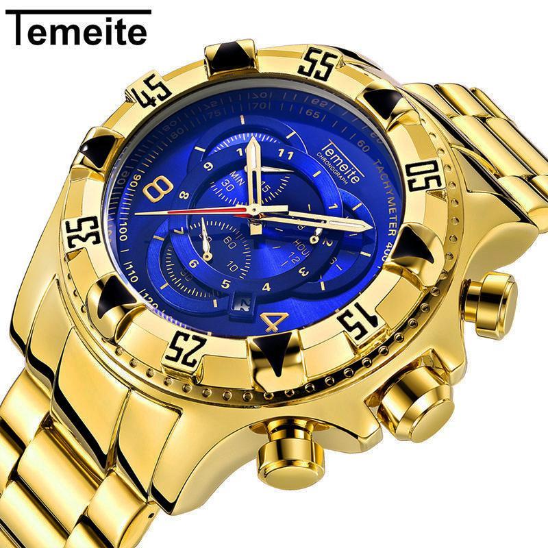 f633c3382c1 Compre Temeite Mens Relógio De Aço Inoxidável Moda De Luxo Homens Relógio  De Ouro 6 Ponteiro Grande Mostrador De Relógios De Quartzo Reloj Hombre  Cronógrafo ...