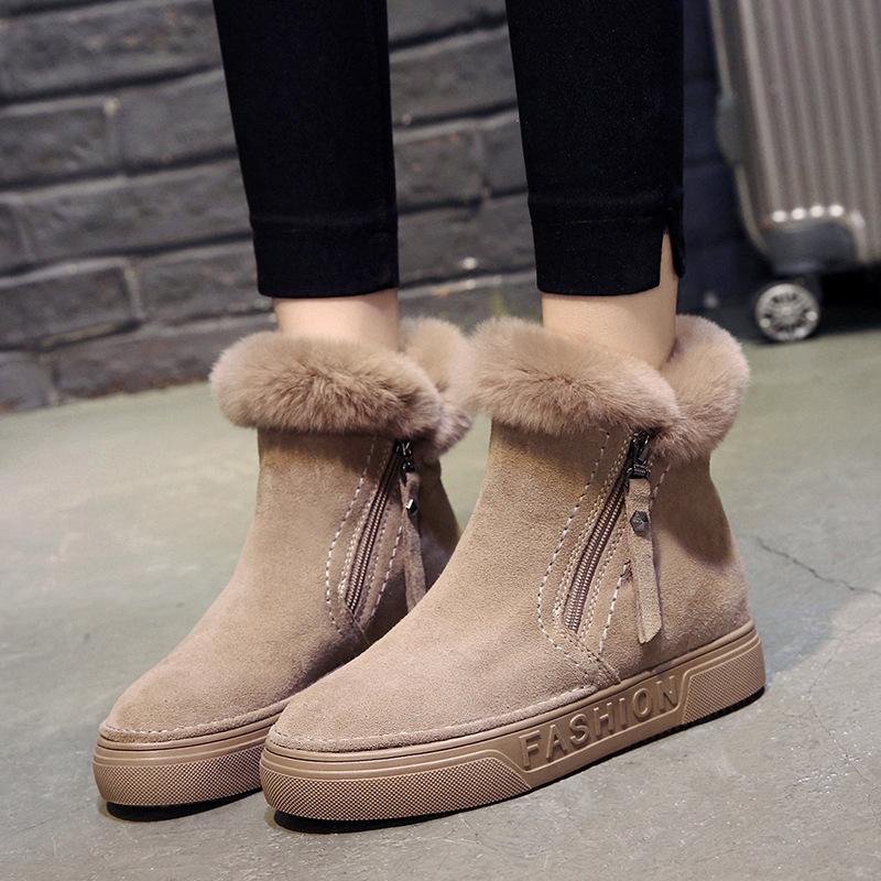 9ec9534e Compre Botas De Invierno De Las Mujeres Botines De Mujer Cremallera Flock  Plataforma Bota De Nieve Señoras Zapatillas De Deporte Felices Zapatos  Planos ...