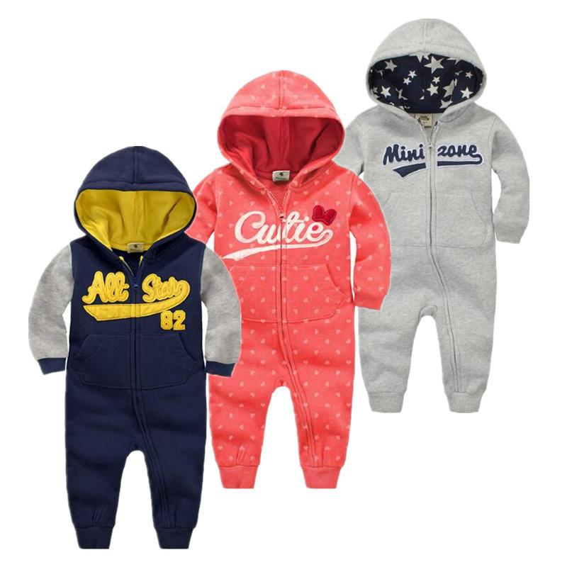 be8035b99 Autumn&winter Baby Boy Clothes Baby Rompers Cotton+ Polyester Fiber Newborn Clothing  Girl Boy Clothes Hooded Sleepwear J190526