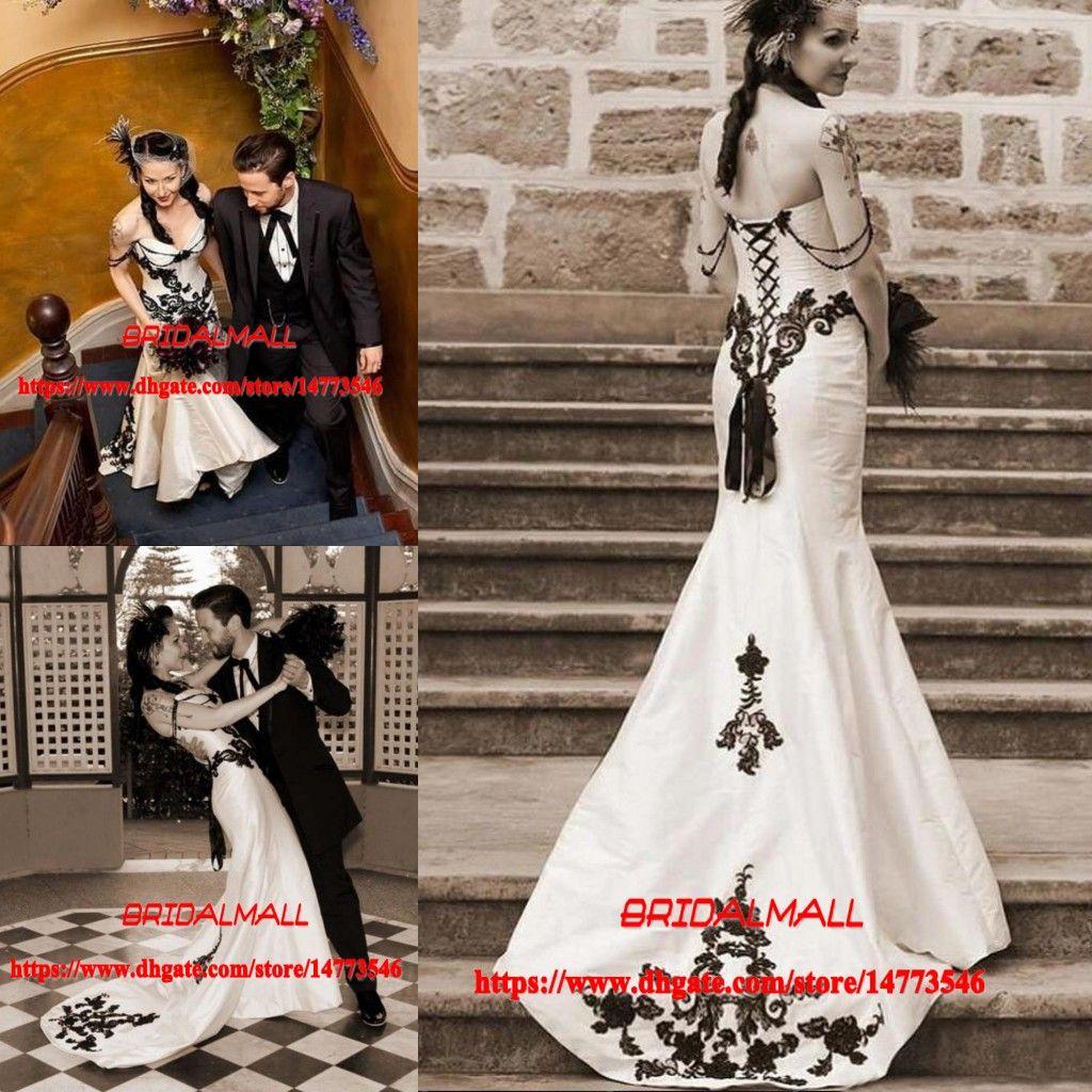 c1001122ad0 White And Black Mermaid Gothic Wedding Dresses 2019 Elegant Lace Applique  Beaded Boho Bridal Gowns Robe De Mariage Garden Wedding Dresses Wedding  Dress ...