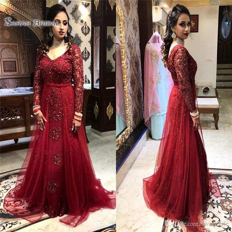 2019 V-neck Mermaid Evening Dress Mermaid Appliques Long Sleeves with Floor Length Arabic Style Prom Dresses