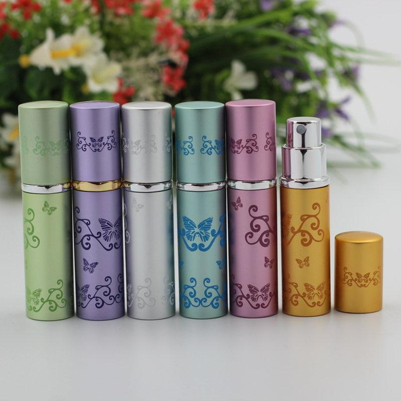 3120c3a0e99b 50pcs/Lot 5ml Butterfly Pattern Deluxe Travel Refillable Mini Perfume  Atomiser Spray Perfume Bottle Glass Fragrance Scent-bottle