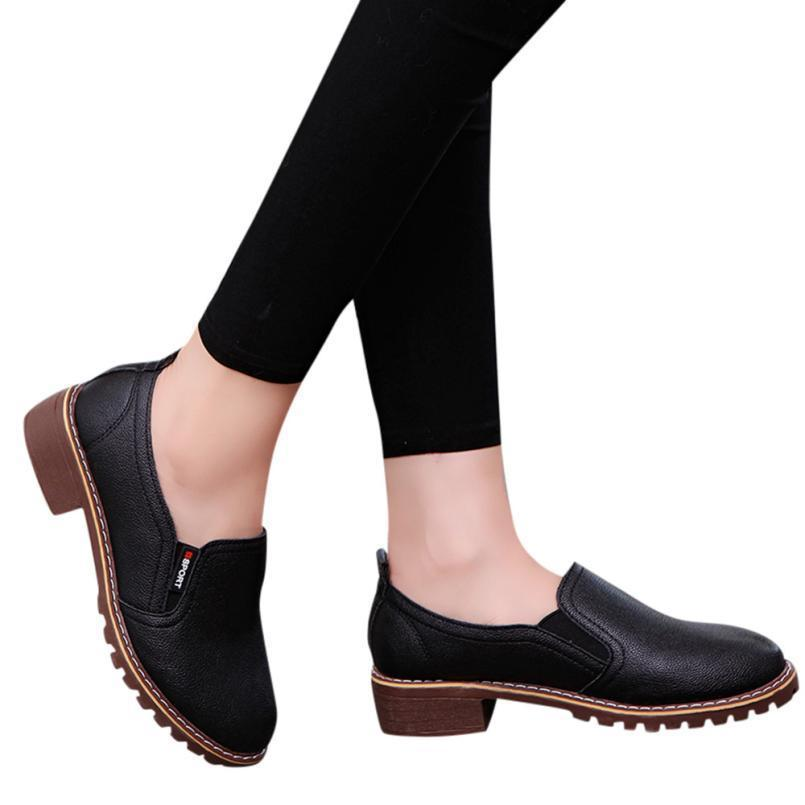 b5335339542b Dress Shoes Pumps Women S Ladies Square Heel Pumps Fashion Ankle Oxford  Leather Casual Female Luxry Short Boots Zapatos A6 Cheap Shoes Online  Fashion Shoes ...