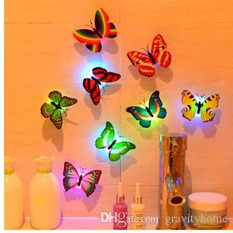 1 Pcs Wall Stickers Butterfly LED Lights Colorful Changing Wall Stickers 3D House Decoration Decorations home decor