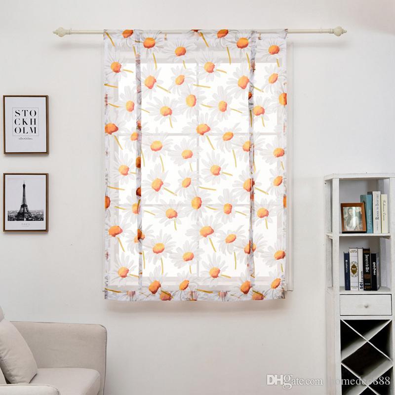 Multi Sizes Curtain Living Room Tulle Modern Shades Flower Printed Curtain  Short Sheer Curtains Window Drape Valance Home Decor VT0899