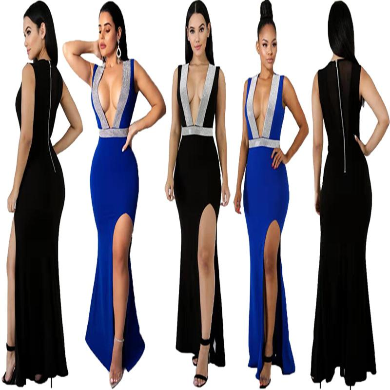 faf0d22a00a35 Free Shipping Hot 2019 Fashion Summer Dress Deep V Neck High Split Evening  Elegant Long Maxi Dress Party Wear Split dress
