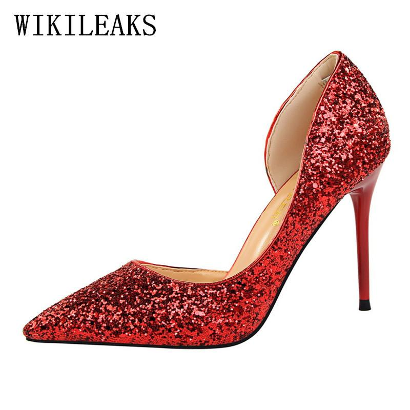 ad5be7bc89ed Dress Korean Bling Sexy High Heels Shoes Women Golden Red Valentine Wedding  Shoes Pumps Salto Alto Designer Luxury Brand Bigtree Shoes Casual Shoes For  Men ...